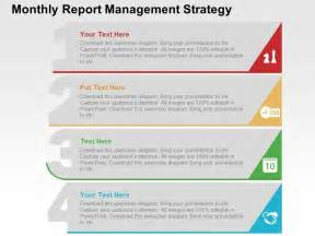 Monthly Report Template Ppt Monthly Report Management Strategy Flat Powerpoint Design