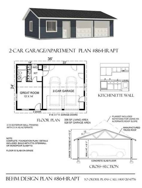 one story garage apartment floor plans 2 car garage with apartment plan 864 1rapt 36 x 24 by