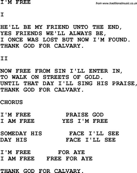 lyrics free country southern and bluegrass gospel song i m free lyrics