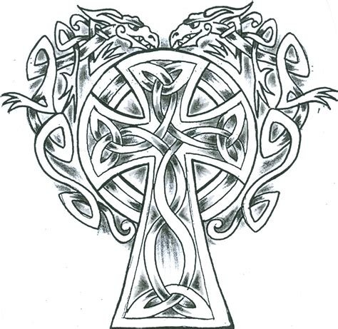 cross with dragon tattoo free coloring pages of celtic