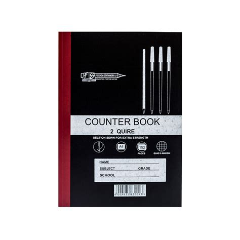 2 quire 192 pages a4 counter books q m freedom stationery