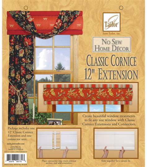sew home decor june tailor no sew home decor classic cornice extension