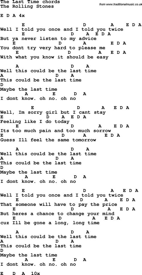 stones lyrics song lyrics with guitar chords for the last time the