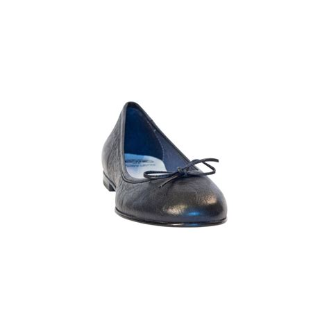 navy blue nappa leather bow ballerina flat paolo shoes