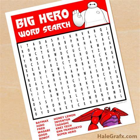 printable word search big free printable big hero 6 word search