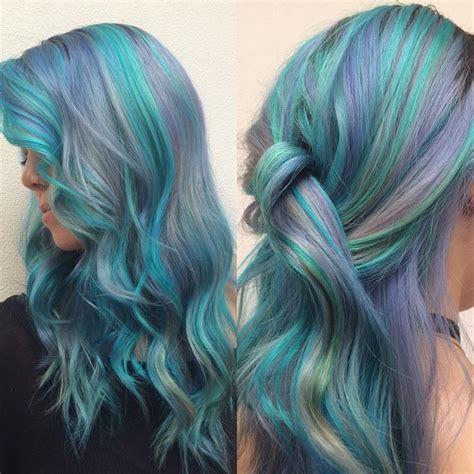 mermaid colored hair purple and green pastel mermaid hair colors ideas