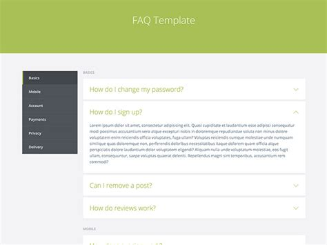 template html faq template html freebiesbug