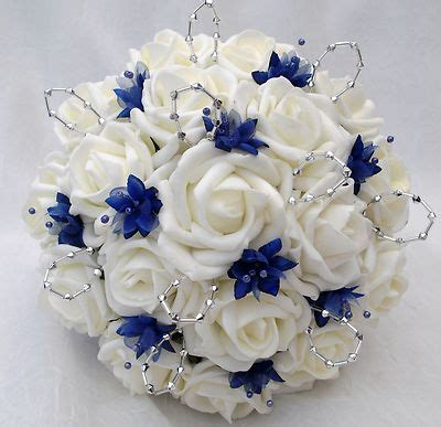 Blue Flower Wedding Bouquet by Posies Artificial Wedding Flowers Brides Posy Bouquet