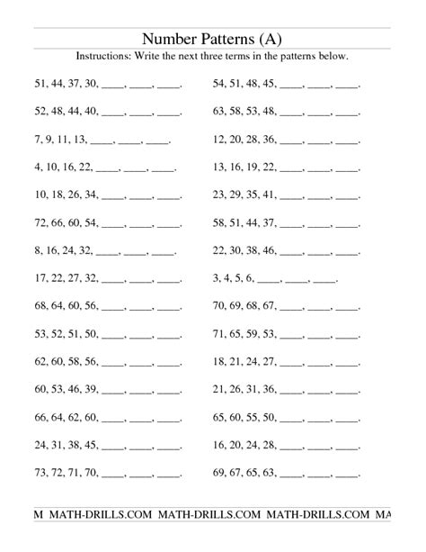 number pattern worksheet grade 2 patterning worksheet growing and shrinking number