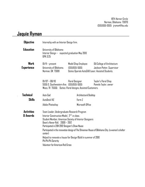 objective for interior design internship resume best