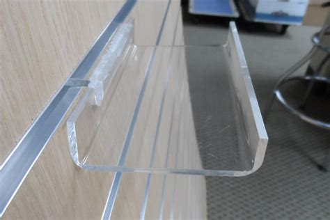 lot of 6 small clear acrylic slatwall shelves with front