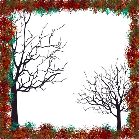 free illustration frame trees autumn decoration free