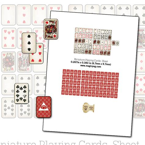 Printable Miniature Dollhouse Playing Cards with box digital