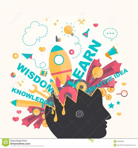 graphics design knowledge knowledge and creativity icons flow from a man head in