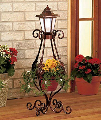 Metal Garden Flowers Outdoor Decor Solar Light Lantern Planter Flower Pot Metal Outdoor Garden Yard Decor Gifts New Ebay