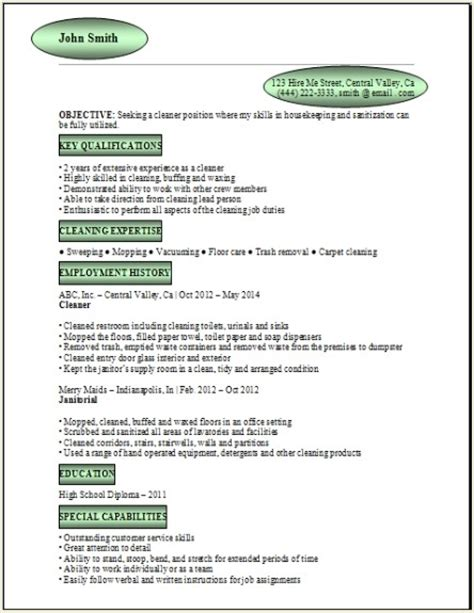 resume for cleaning exles sles free edit with word