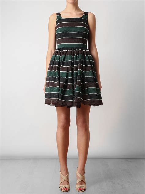 lyst dolce gabbana striped silk organza dress in green