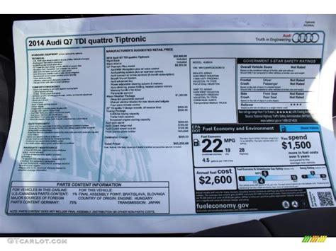 Audi Quattro Window Sticker by 2014 Audi Q7 3 0 Tdi Quattro Window Sticker Photo