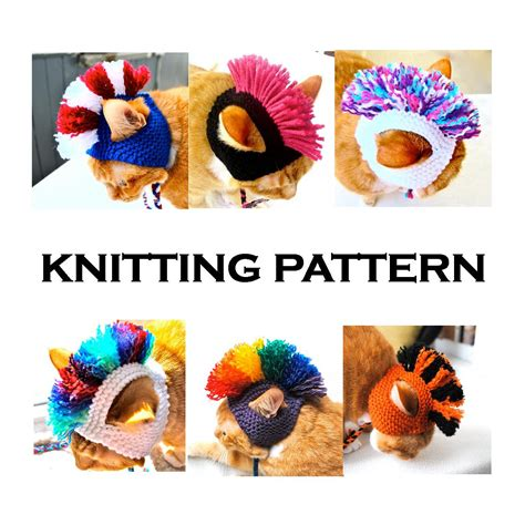 hats for cats knitting patterns mohawk cat hat knitting pattern instant diy