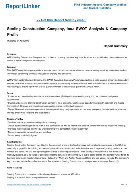 sterling construction company inc swot analysis company profile