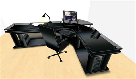 Large Corner Office Desk by Second Marketplace Led Midnight Black Corner Office