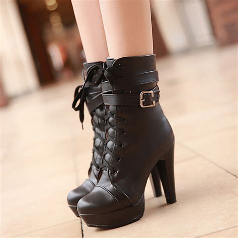 black ankle high heels 2015 fashion boots platform black high heel ankle
