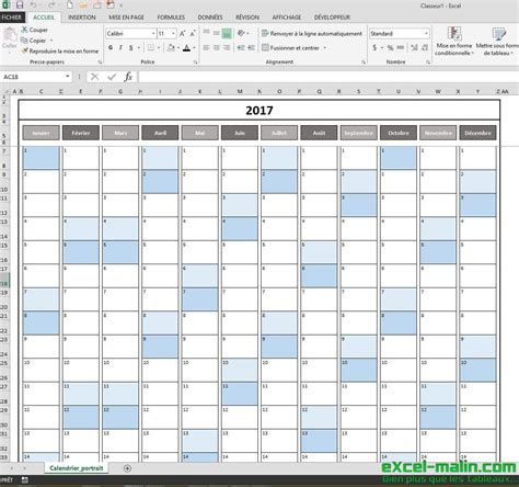 Planning Calendrier 2017 Calendrier 2017 Excel Modifiable Et Gratuit Excel Malin