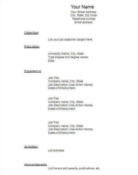 Blank Resume Template by 22 Blank Resume Templates Free Pdf Word Documents