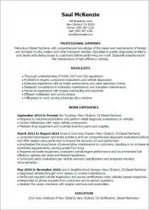 Diesel Mechanic Resume Exle by Professional Diesel Mechanic Templates To Showcase Your Talent Myperfectresume