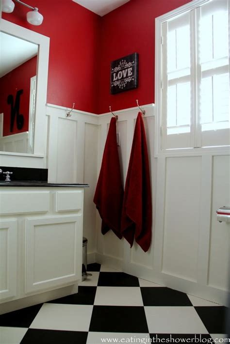 Bathroom in red black and white ideas for the cottage pinterest