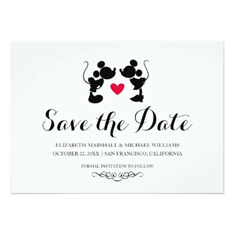Wedding Invitations And Save The Dates by Mickey Minnie Wedding Silhouette Save The Date Card