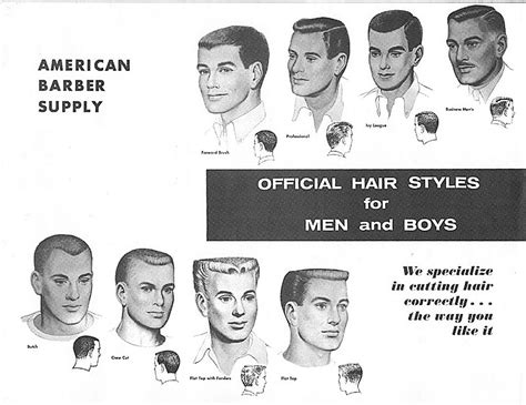 vintage haircut chart 1950s mens hair styles in the mid 1950 s the flattop