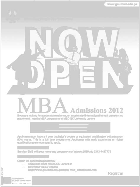 Mba Admission In Pakistan by Mba Admissions 2012 Gcu Lahore In Pakistan Career