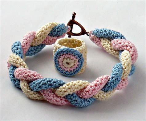 Crochet Ring Bracelet by Crochet Bracelet Fiber Bracelet And Ring Braided Icord