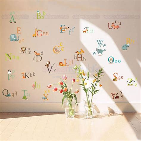 wall stickers alphabet letters alphabet letter wall sticker 26 alphabet letters animal