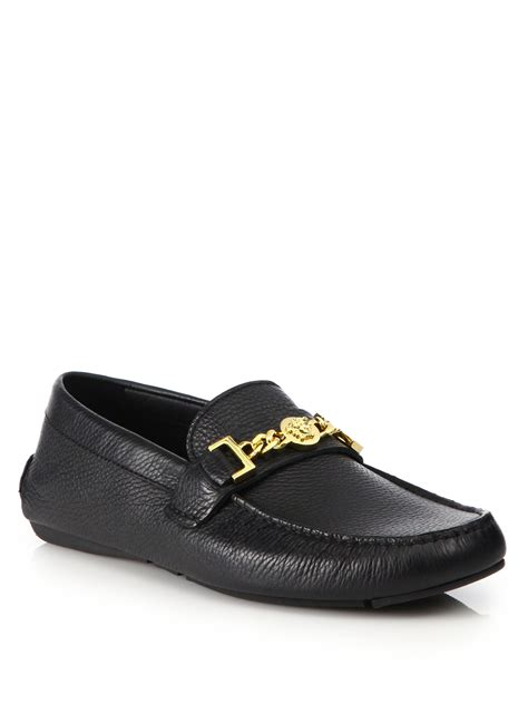 versace loafers for versace chain detail loafers in black for black