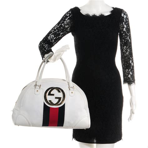 Guc Ci Leather White gucci leather web blondie bowler white 75594