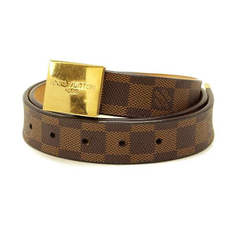 auth louis vuitton damier ceinture carre belt ebene brown