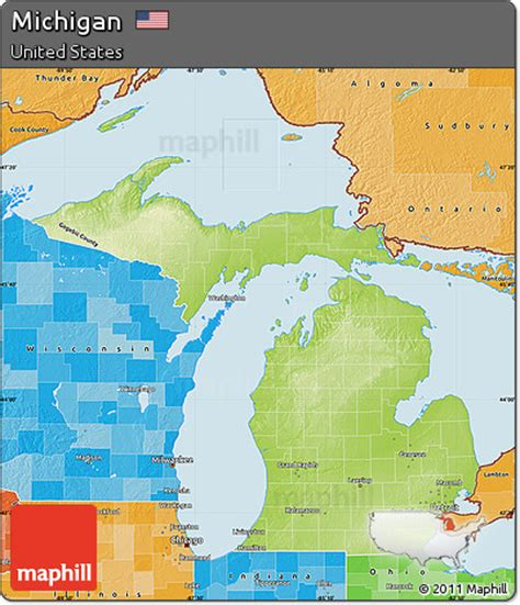 physical map of michigan free physical map of michigan political shades outside
