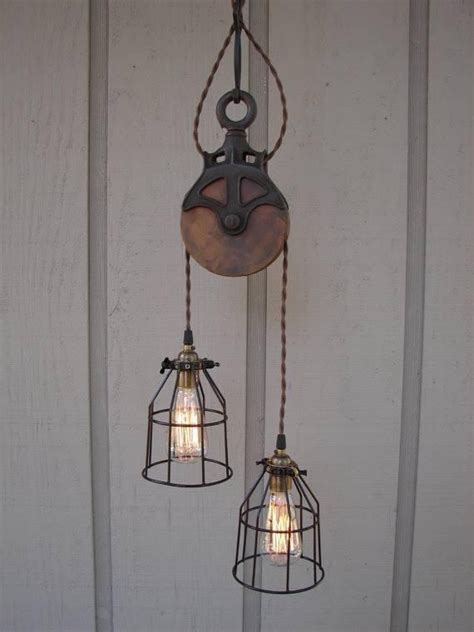 upcycled light fixtures upcycled pulley light fixture home decor
