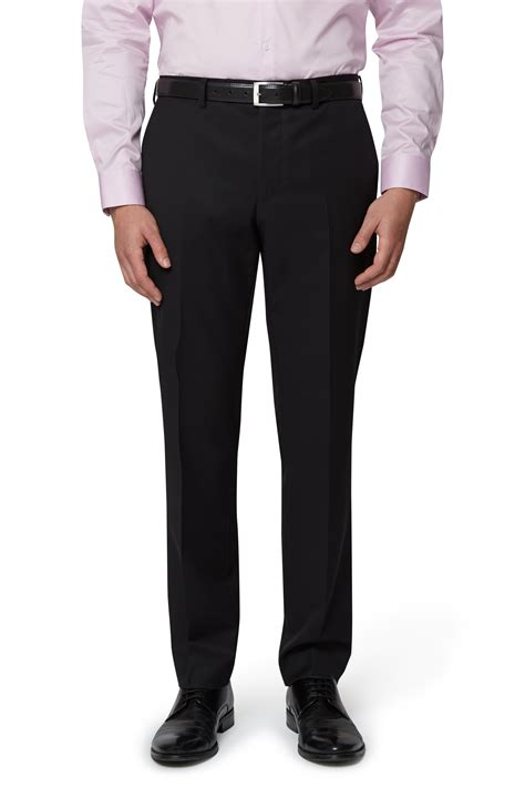 Belt Pant dkny mens black tuxedo trousers slim fit flat front suit