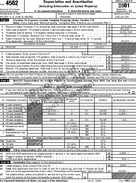 Form 4562 Worksheet by Publication 225 Farmer S Tax Guide Preparing The Return