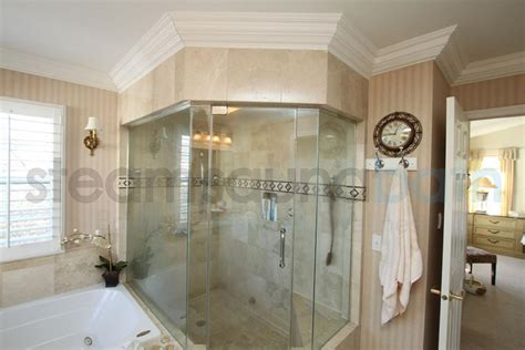 large home steam shower with frameless doors photo