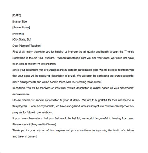 thank you letter after kindergarten 12 thank you note templates free sle exle