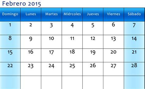 Calendario Octubre 2015 Para Imprimir Calendario Febrero 2015 Para Imprimir