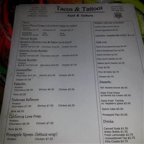tattoo menu tacos and tattoos miami fl united states the menu