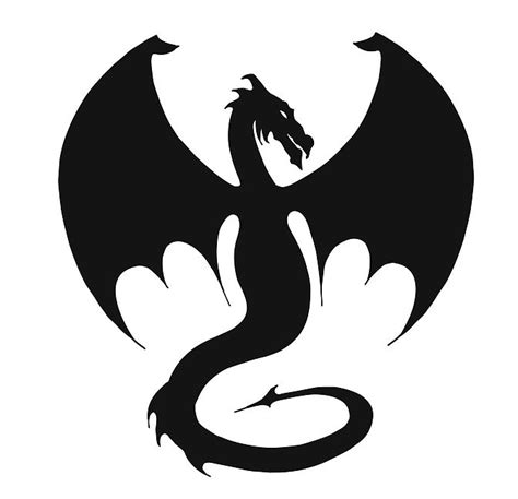large black ink dragon silhouette tattoo design
