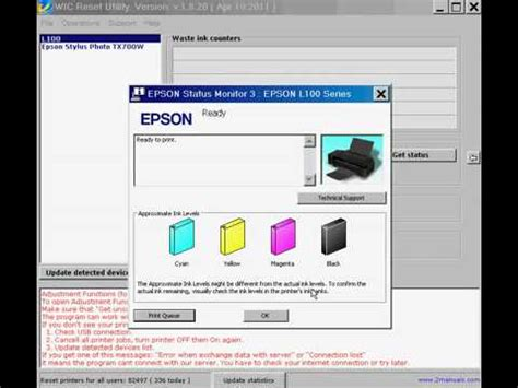 how to reset epson l800 printer ink epson l100 l200 l800 printers ink reset youtube