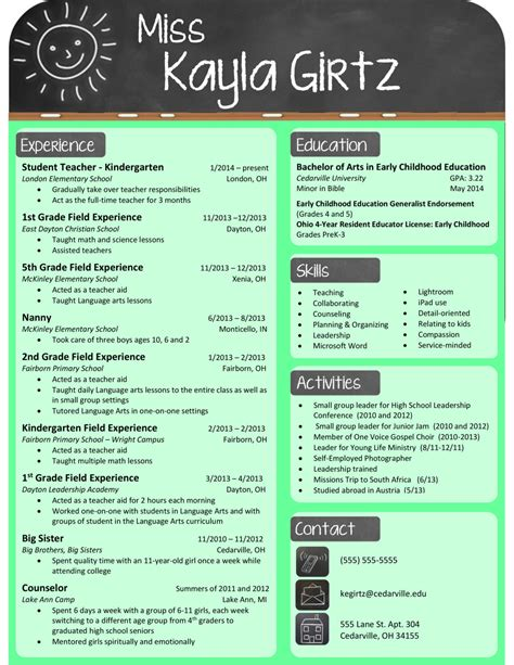 teaching resume template free resume sles for teachers 2017