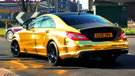 mercedes gold chrome gold mercedes cls63 amg revs and sounds